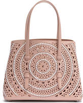 Alaia Small beige leather braided tote bag
