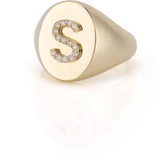 Sarah Chloe Kari 14k Signet Diamond Initial Ring, Size 3-10