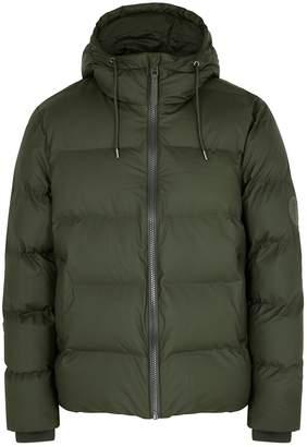 Rains Dark Green Quilted Rubberised Jacket