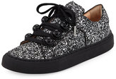 Carven Glitter Dome-Studded Low-Top Sneakers, Black