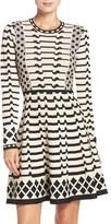 Eliza J Women's Geometric Knit Fit & Flare Dress