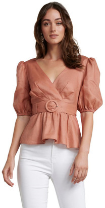 Forever New Pauline Puff Sleeve Wrap Top