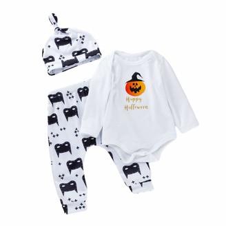 Minizone Baby Romper 3pcs Set Halloween Outfit Boys Girls Bodysuits+Pants+hat Long Sleeve Pumpkin Bat Newborn Gift 3-6 Months