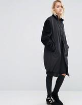 Asos Longline Coat with Contrast Velvet Sleeves