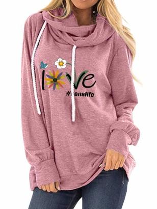 Dresswel Women Love Nanalife Hoodie Cowl Neck Drawstring Hooded Sweatshirt Long Sleeve Tops Pullover Jumpers Pink