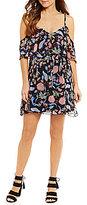 GUESS Jazmin Floral-Printed Cold-Shoulder Chiffon Dress