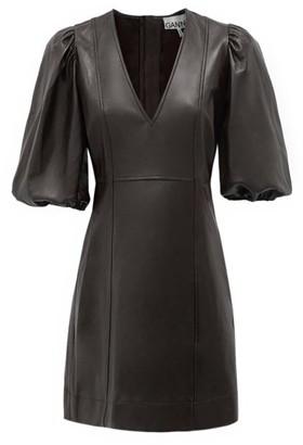 Ganni Balloon-sleeve Leather Mini Dress - Black