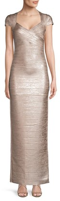 Herve Leger Metallic Bandage Column Gown
