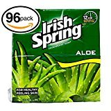 (PACK OF 96 BARS) Irish Spring ALOE SCENT Bar Soap for Men & Women. 12-HOUR ODOR / DEODORANT PROTECTION! For Healthy Feeling Skin. Great for Hands, Face & Body! (96 Bars, 3.75oz Each Bar)