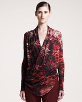 Helmut Lang Midnight Floral-Print Top