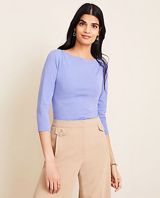 Ann Taylor Petite Boatneck Luxe Tee