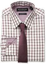 Nick Graham Men's Windowpane Dress Shirt With Tie Set