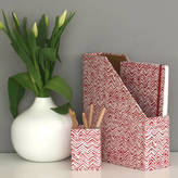 Heart & Parcel Desk Tidy Set Red Hand Drawn Chevron