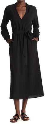 ALL IN FAVOR Long Sleeve Tie Waist Midi Dress