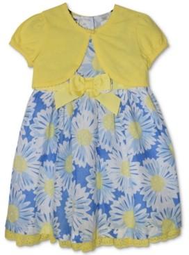 Blueberi Boulevard Baby Girls 2-Pc. Watercolor Floral-Print Dress & Cardigan Set