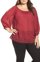 Bobeau Plus Size Women's Cold Shoulder Lace Trim Top