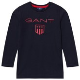 Gant Navy Classic Shield Logo Long Sleeve Tee