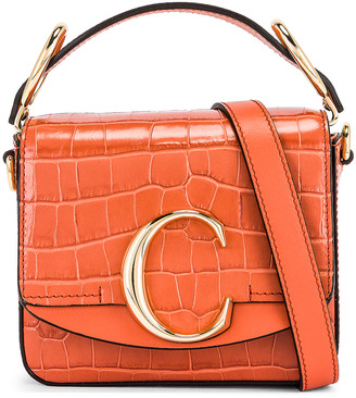Chloé Mini C Embossed Croc Box Bag in Tawny Orange | FWRD