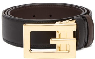 Gucci Square G Leather Belt - Black Brown