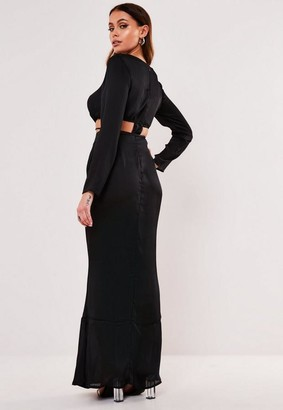 Missguided Black Satin Long Sleeve Cut Out Maxi Dress