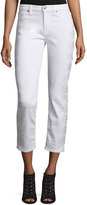 7 For All Mankind Kimmie Embroidered-Outseam Cropped Jeans, White