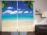 Living Room Curtains Island Decor by Ambesonne, Tropical Vacation and Bright Sky Scenic Shore Sunny Picture, Window Treatments, Living Kids Girls Room Curtain 2 Panels Set, 108 X 84 Inches, Blue Ivory