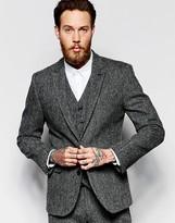 Asos Slim Suit Jacket In Gray Harris Tweed 100% Wool