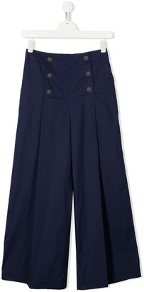 MonnaLisa TEEN double-breasted palazzo trousers