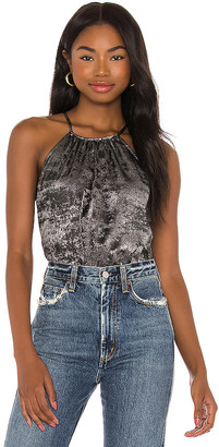 1 STATE Halter Neck Metallic Top