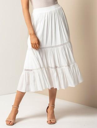 Forever New Carlita Petite Tiered Lace Trim Midi Skirt - Porcelain - 10