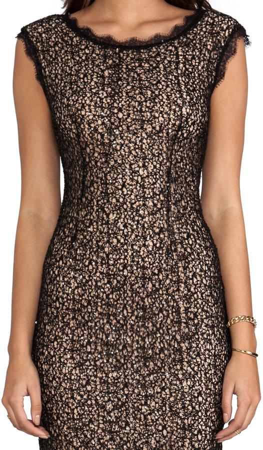 Halston Cap Sleeve Lace Dress
