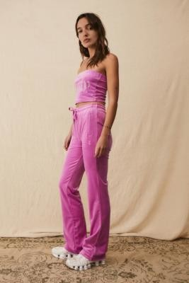 Juicy Couture UO Exclusive Rose Flare Track Pants - Pink XS at Urban Outfitters