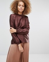 Selected Lea Long Sleeve Silk Top