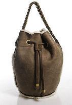Tory Burch Beige Shearling Bucket Handbag Size Small