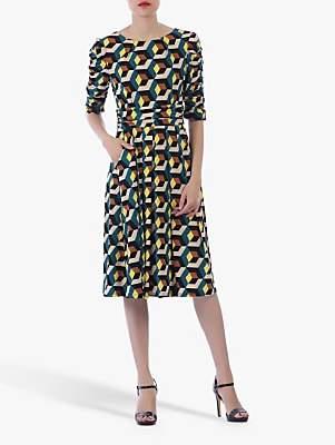 Jolie Moi Geometric Boat Neck Midi Dress