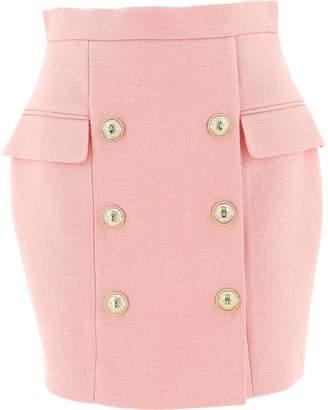 Balmain Double-Breasted Mini Skirt
