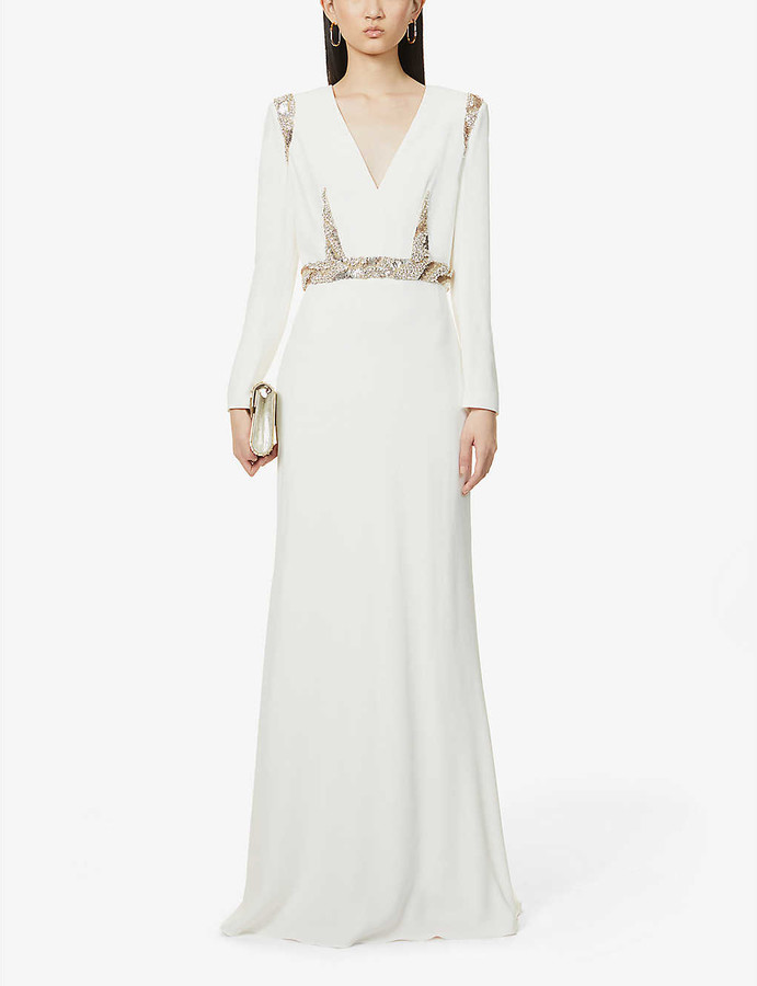 Alexander McQueen Gemstone and sequin-embellished crepe gown