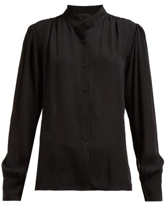 Nili Lotan Lorena Gathered Crepe Shirt - Womens - Black