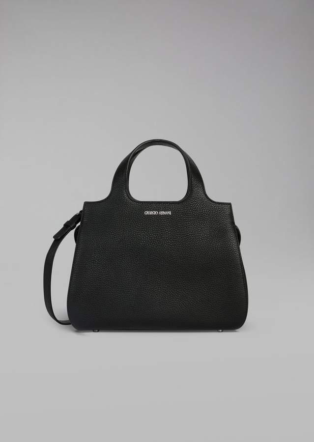 Giorgio Armani Grainy Calfskin Leather Handbag