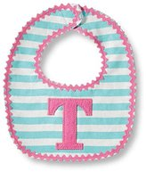 Mud Pie Baby Girl Striped Bib Monogrammed with Initial T