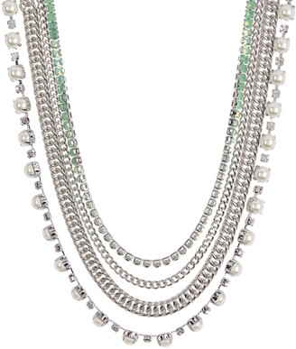 Carolee Sterling Silver Freshwater Pearl Multi-Strand Chain Necklace