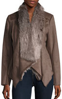 BCBGeneration Faux Fur-Accented Faux Suede Coat