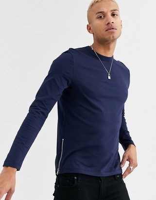 Asos Design DESIGN long sleeve t-shirt with side zips in navy