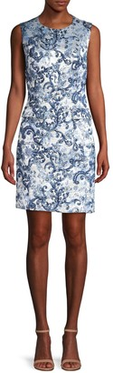 Elie Tahari Jaelyn Matelasse Jacquard Sheath Dress