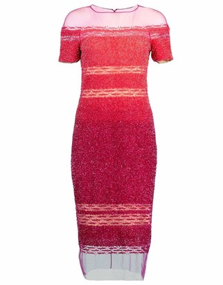 Pamella Roland Coral and Fuchsia Ombre Sequin Embroidered Cocktail Dress