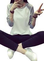 KOINECO Women's Long Sleeve Raglan Baseball Tee Shirts X-Large