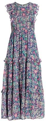 Banjanan Iris Smocked Floral Tiered Ruffle Dress
