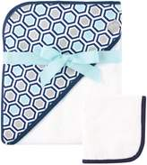 Hudson Baby Print Woven Hooded Towel and Washcloth, Honeycomb by