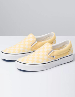 Vans Checkerboard Yellow & True White Womens Slip-On Shoes