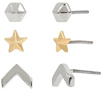 AllSaints Two-Tone Arrow & Star Stud Earrings Set, Set of 3